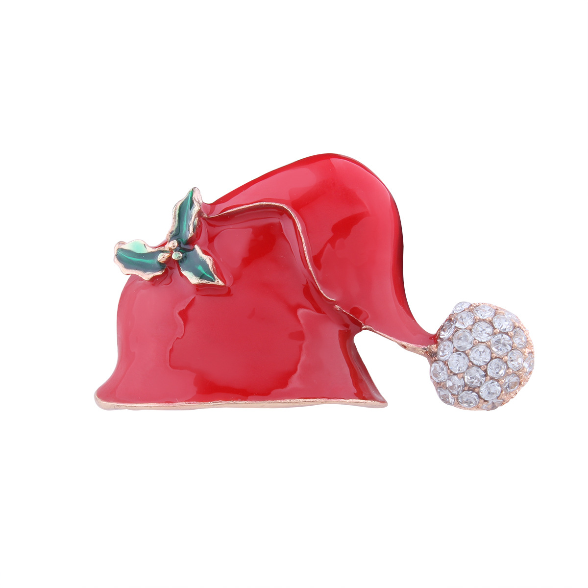 Occident and the United States alloy Diamond brooch (Christmas hat)NHNMD3842-Christmas hat