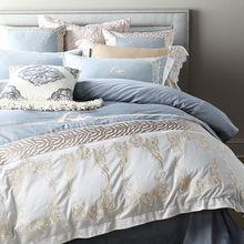 美式80S匹马棉高端斑马纹刺绣全棉四件套1.8m纯棉拼接床品被套瑟