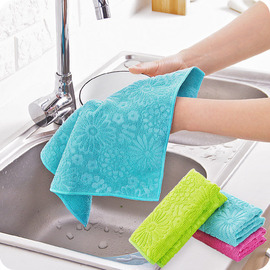 4531 Microfiber Dishwashing Cloth Absorbent Oil Non-glare Printing Dishwashing Wipes Kitchen Cleaning Scouring Cloth