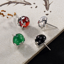 One Deer Silver S925 Pure Silver retro pattern inlaid with chalcedony pomegranate red temperament Little Tremella nail