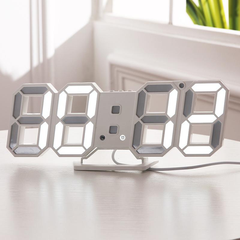 韩版3DLED数字钟客厅挂钟新款电子钟闹钟3D立体钟 厂家批发6609