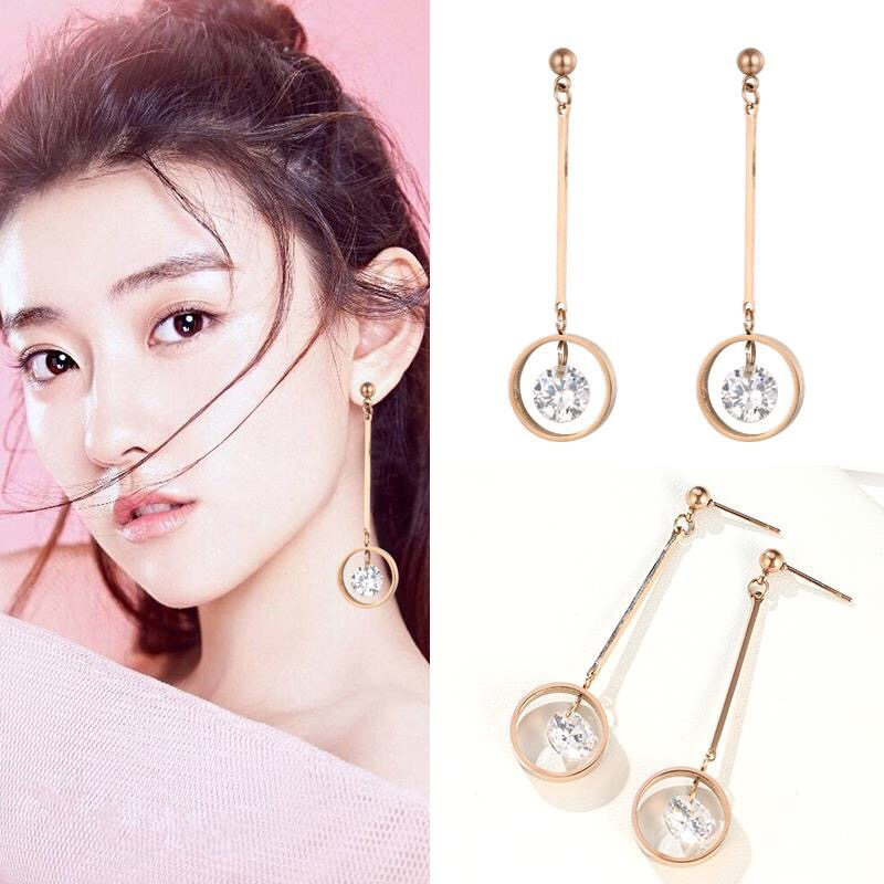 Star street shoot metal plating Titanium steel earrings (Rose gold pair)NHIM0946-Rose gold pair