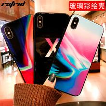 新款创意iPhoneX彩绘玻璃手机壳苹果7/8plus全包招财猫钢化保护套