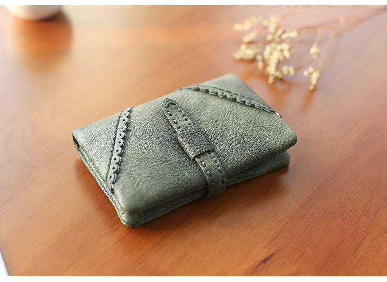 Korean short solid color PU leather zip coin purse NHNI144156