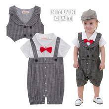 夏款短袖童装 男童绅士哈衣+马甲 两件童套装