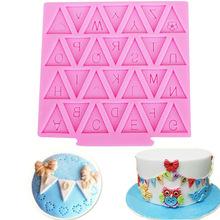 新款DIY蛋糕模具 三角小吊旗翻糖硅膠模具液態硅膠模