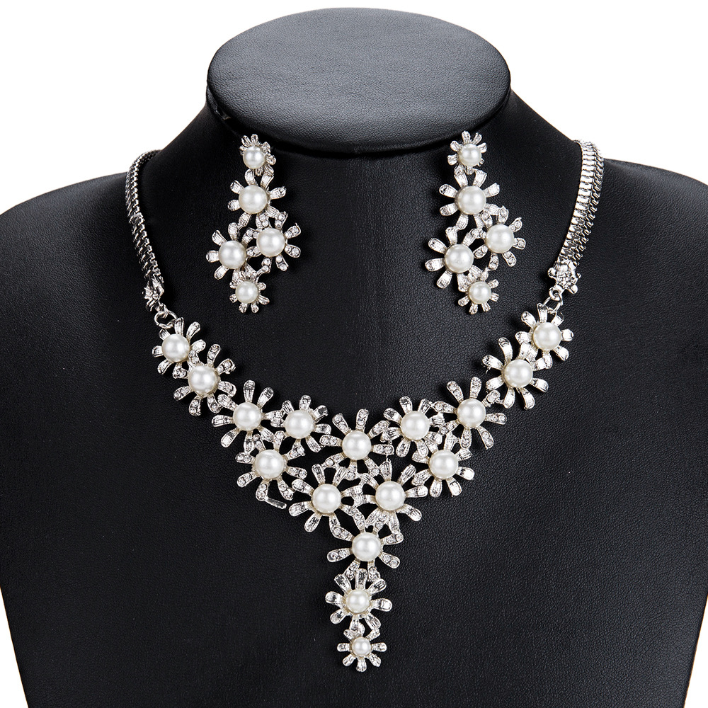 Exotic alloy plating Necklace Set (Silver)NHJE0495-Silver