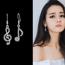 B100欧美大牌音符耳钉 高雅瑞丽水晶耳环饰品女 不对称 热销 耳饰