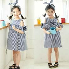 童装一件代发女童裙子韩版条纹连衣裙公主裙18夏装新款外贸3-8岁