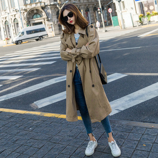 Windbreaker women's mid-length 2017 new Korean style temperament waist was thinner double-breasted solid color spring and autumn jacket female tide