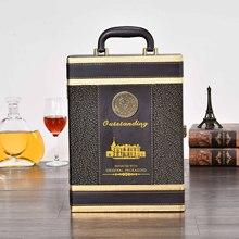浩遠 高檔紅酒皮盒 雙支禮盒 葡萄酒禮品包裝 帶酒具雙只裝可定制