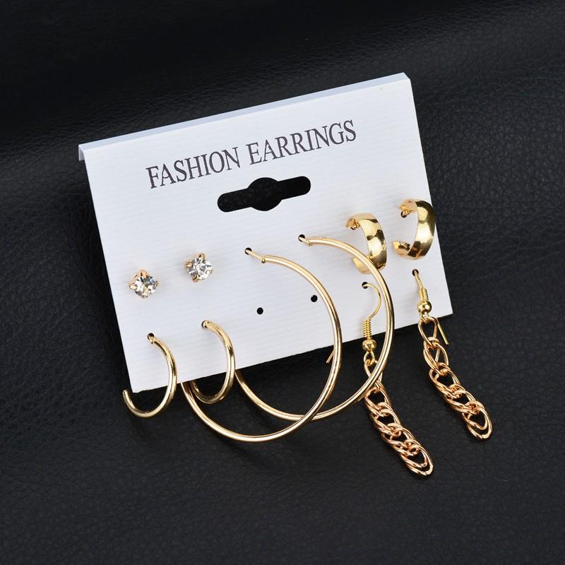 跨境速卖通wish韩版耳钉套装个性圈圈水晶耳环组合套装 5件套