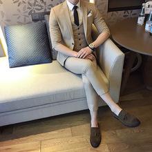 休闲西装韩版夏中袖男西服套装发型师男士西装三件套短袖小西装男