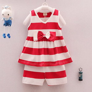 2017 summer wear, new striped bow tie vest, 1-4 year old girl vest suit