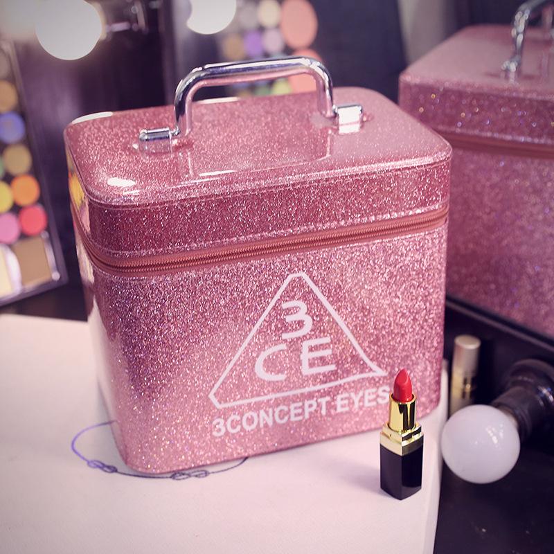 批发定制化妆包新款大容量旅行便携化妆箱手提PU专业化妆品收纳包