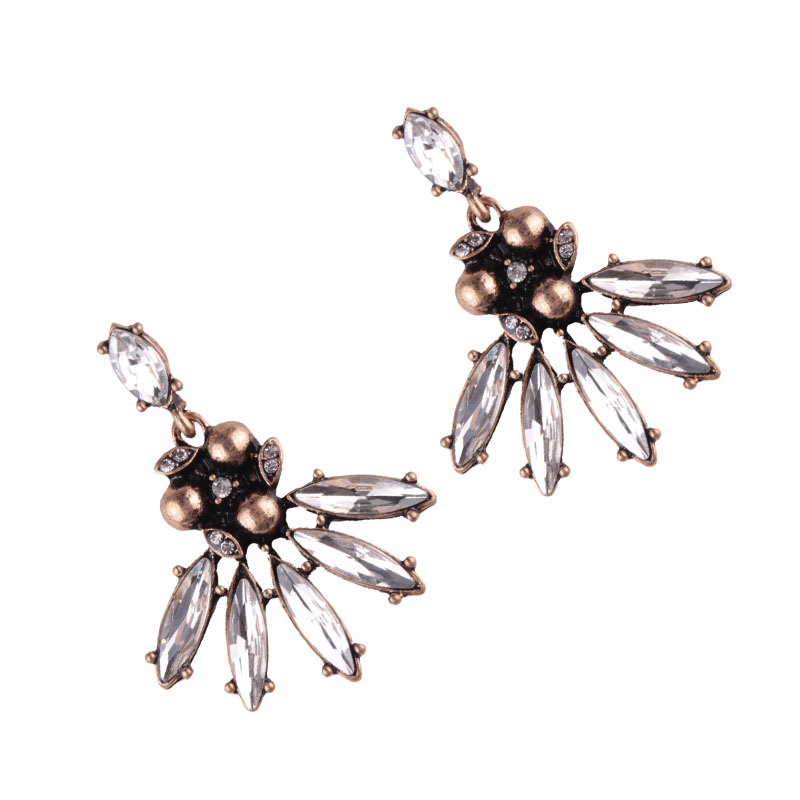 Retro alloy Inlaid with zircon earring (Silver black)NHJQ9290-Silver black