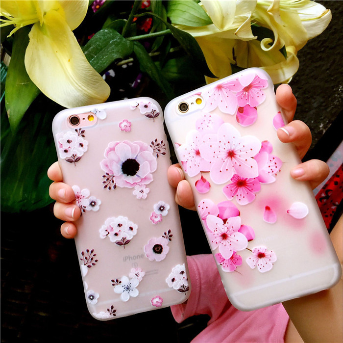 oppoR15 all-inclusive soft relief flower ip7p/iphone XSM/XR cherry blossom/6plus translucent X21/x20