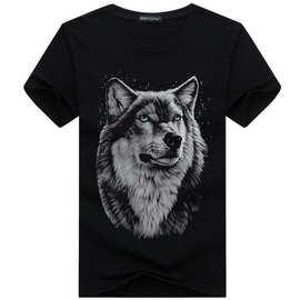 2020夏季新款短袖T恤男加肥加大码青年半袖T恤潮厂家直销-3D狼头