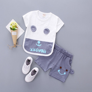 2017 Korean children short suit summer T-shirt letters cartoon eyes T-shirt brand children's new tide