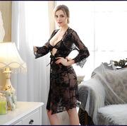 外贸情趣内衣高档 欧美性感蕾丝长裙大码黑色睡衣含三点睫毛套装