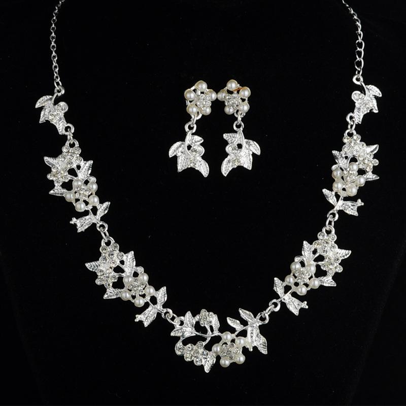 合金新娘套链 树叶珍珠项链耳环 韩版婚纱二件套 珍珠树叶套链