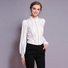 C057 歐洲2019春秋新款女裝代理歐美高端釘珠連體真絲襯衣女