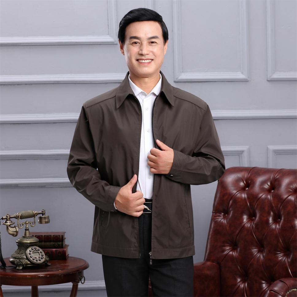 男款外套春季新款中年男式夹克休闲男装薄款宽松百搭爸爸上衣