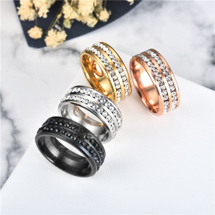Alloy Fashion Geometric Ring  (8MM steel color 6) NHTP0049-8MM-steel-color-6