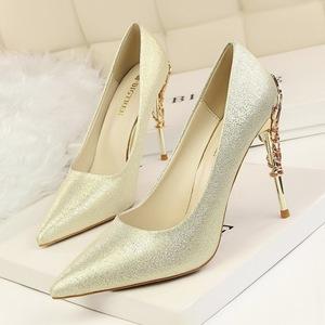 Silk fabric shoes, high-heeled Pumps