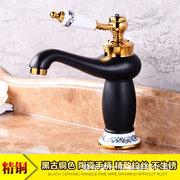 自产自销青花瓷全铜烤漆金色面盆龙头 欧式浴室柜龙头 冷热水龙头
