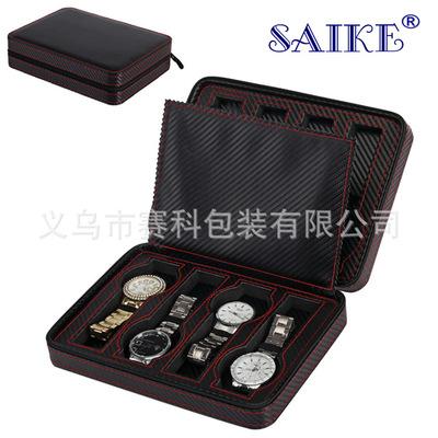 [碳纤维]现货批发碳纤维皮8位便携式拉链手表盒腕表收纳收藏盒子