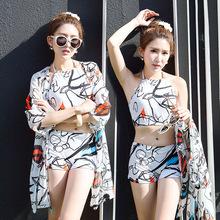 批发泳衣女分体三件套性感显瘦平角裤大小胸罩衫防晒沙滩温泉泳装