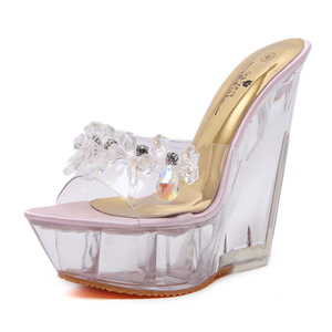 Transparent crystal stone decorative shoes