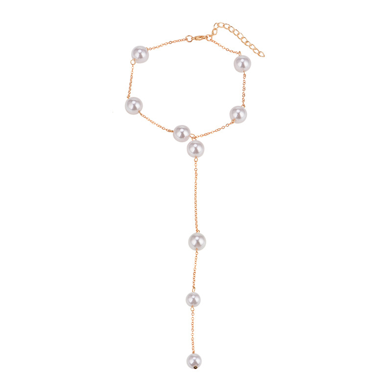 other alloy Pearl inlay necklace (Gold)NHYT0537-Gold