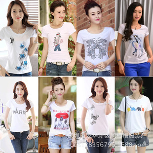 Miss Xia Ji short-sleeved t-shirt Women Korean white shirt women's T-shirt printing clothes wholesale supply stall