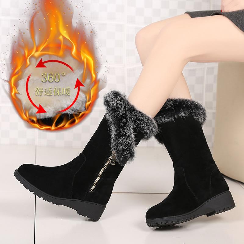 冬季兔毛雪地靴女中筒短靴平底靴子皮毛一体女靴粗跟外贸大码棉靴