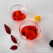 耐热创意双层 透明玻璃 奶茶牛奶杯 心形把果汁杯 咖啡茶具