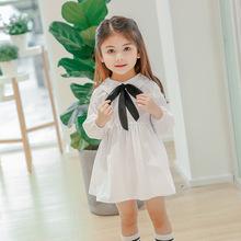 一件代發春季新款童裙 韓版大蝴蝶系帶純色連衣裙 外貿童裝批