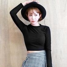 长袖露脐t恤女上衣黑色圆领高腰短款修身纯色显胸紧身秋冬打底衫
