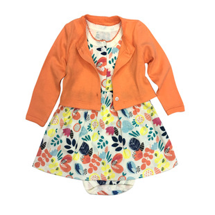 Factory direct children's clothing spring and autumn female treasure cotton long-sleeved cardigan jacket baby dress baby dress two-piece suit
