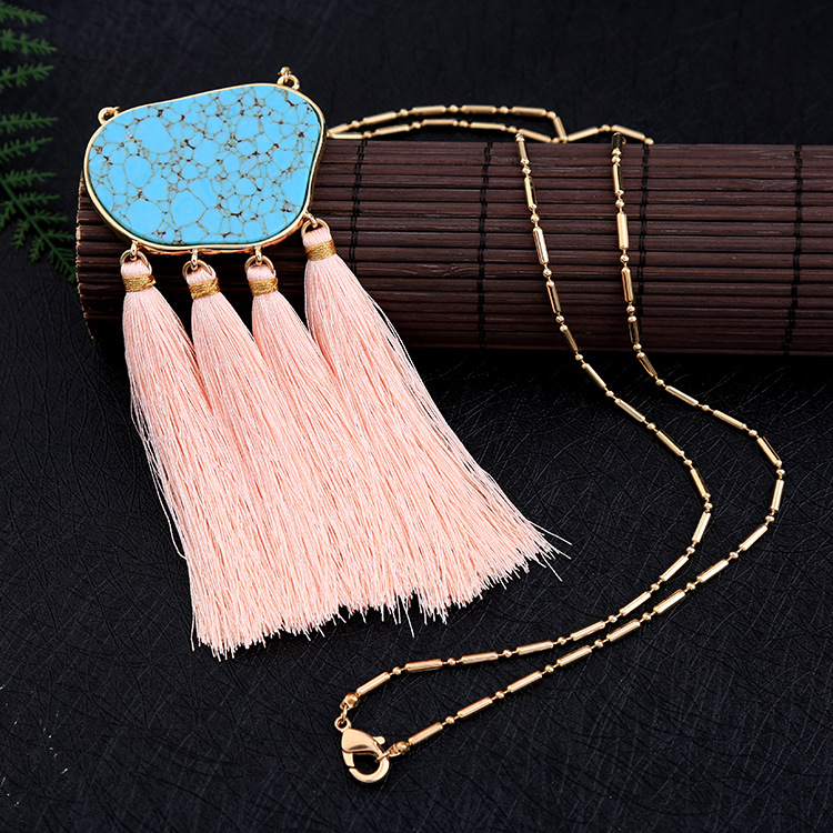 Fashion Alloy Inlaid stones necklace Tassel NHQD4069