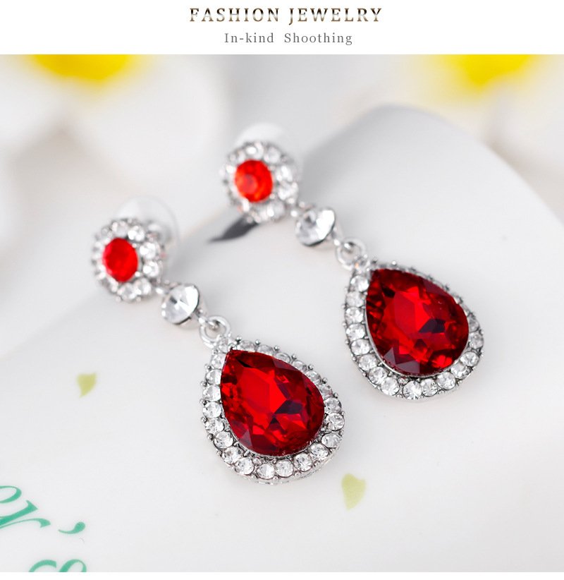 Fashion Simple Multicolor Gem Necklace Ring Earring Three-Piece Alloy Diamond Plating White K Jewelry Set NHDR198234