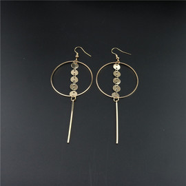 Fashion earrings hollowed-out large circle sequins long ear circulation Su vertical bar earrings