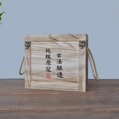 定制高档陶瓷酒瓶木箱2瓶装实木木箱 白酒礼品包装木盒 定制烧色