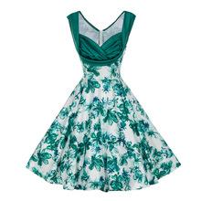7706 亚马逊wish新款复古优雅收腰印花修身显瘦大摆连衣裙女装