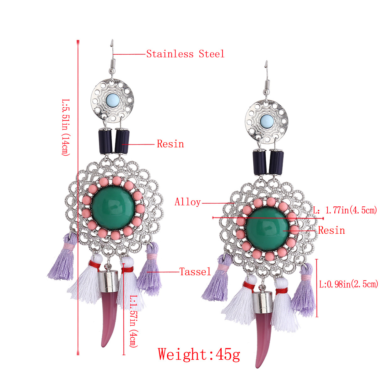 Retro alloy Diamond earring (black)NHNMD3799-black