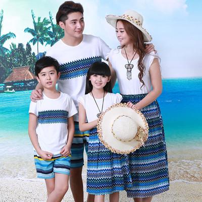 夏款亲子装蓝色波浪短袖沙滩情侣装连衣裙全家装母女