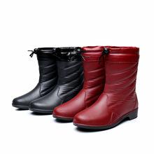 秋冬款加厚中筒雨靴3519女士时尚皮纹雨鞋加绒棉水靴套鞋保暖胶鞋