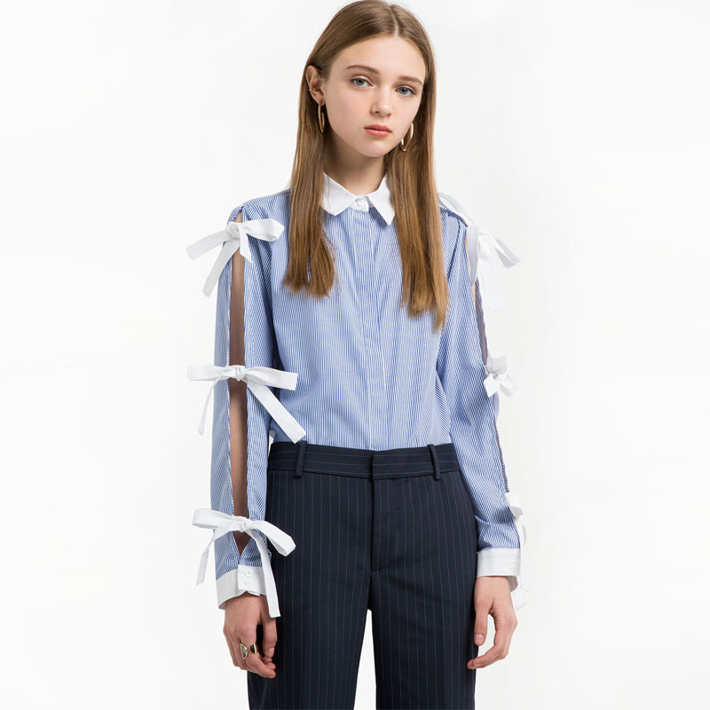 pinstriped cotton shirt with ruffles p45454801