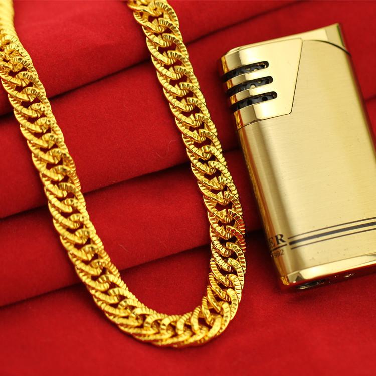 仿黄金马鞭双扣项链 男士 boss项链 18K黄金 非洲饰品货源